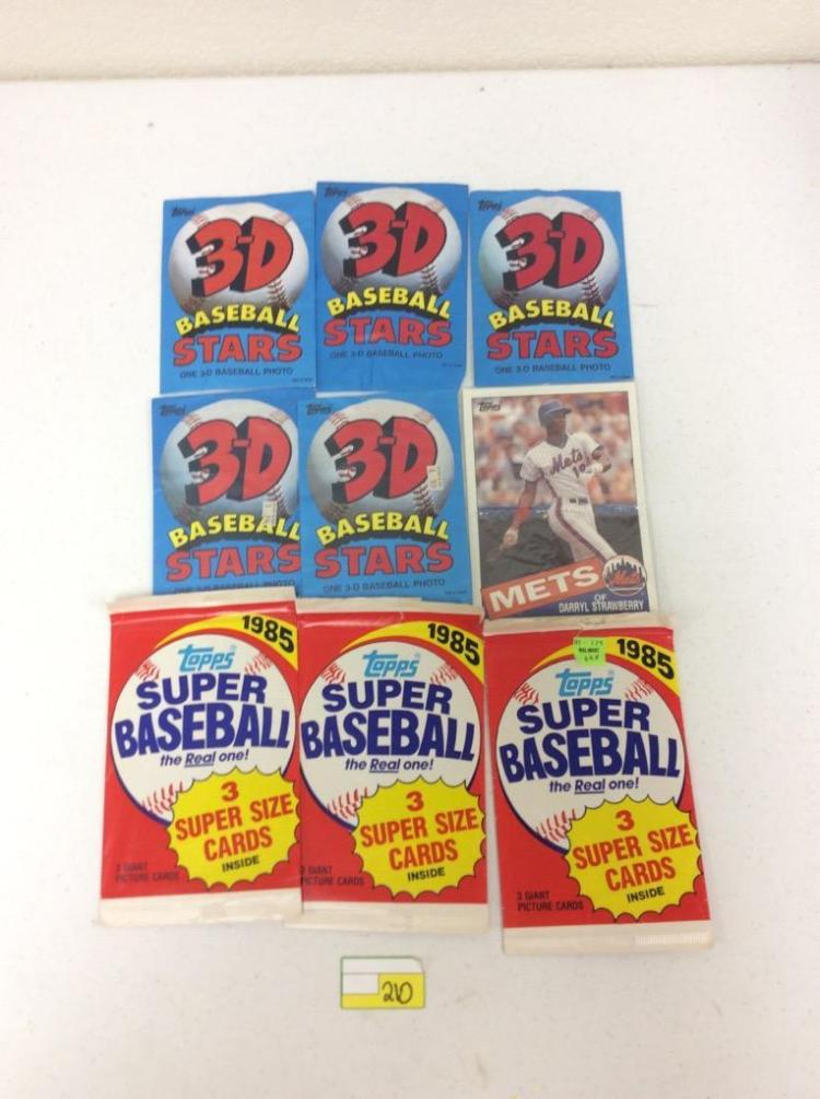 All For One Money: 1985 Topps 3-D Baseball Stars (5), 1985 Topps Super Baseball Packs (3), and 1985 Topps Supersize #30 - Darryl Strawberry
