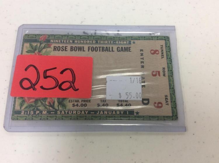 Rose Bowl Football Game Ticket - Sat Jan 1, 1938