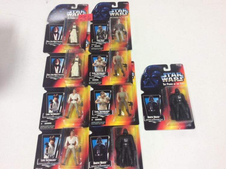 (9) Star Wars Figures Still in Package - Han Solo, Obi-Wan Kenobi, Luke Skywalker, & Darth Vader - All For One Money