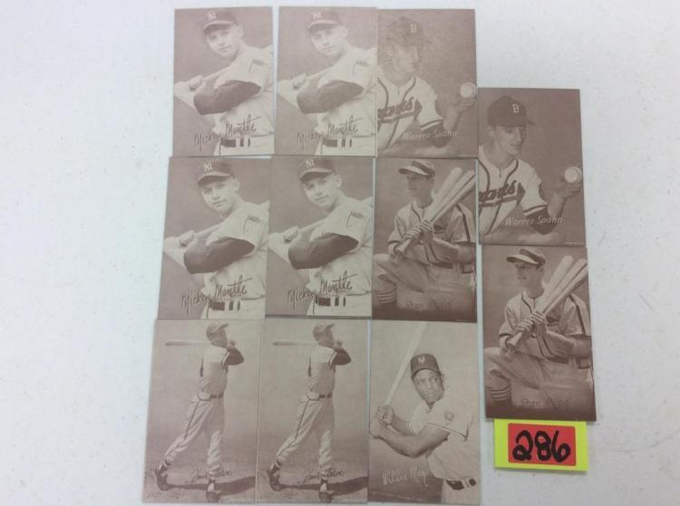 (11) Mickey Mantle, Warren Spahn, Stan Musial, Hank Aaron, & Willie Mays Exhibits - All For One Money