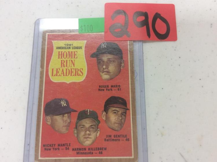 1962 Topps - 1961 American League Home Run Leaders