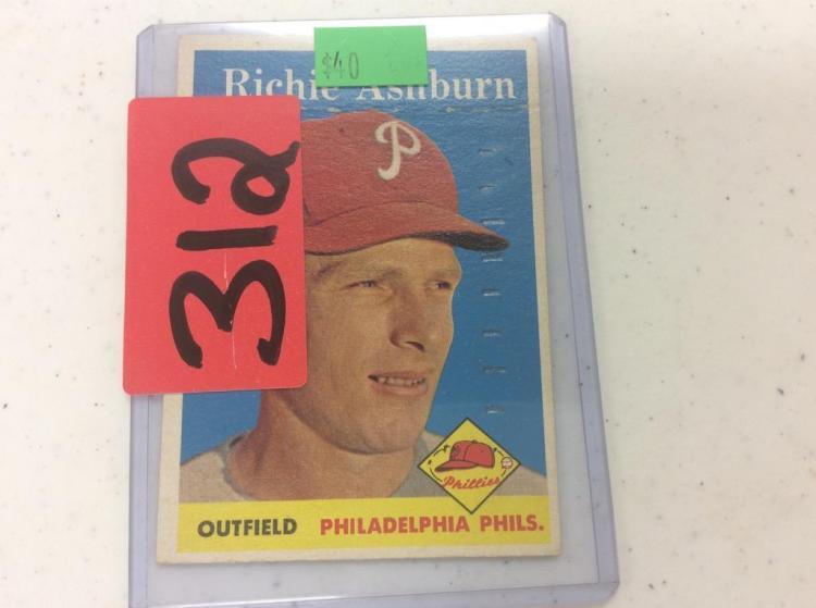 1958 Topps Richie Ashburn - Philadelphia Phils.