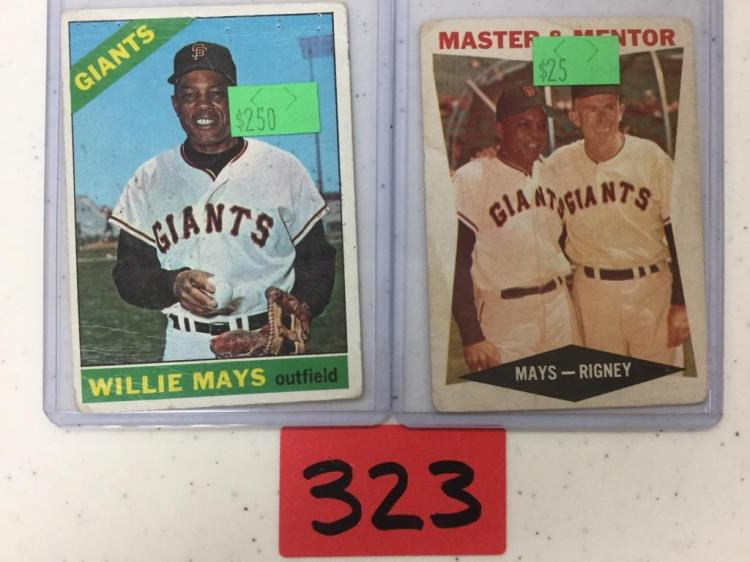 Lot of 2 Willie Mays Cards including Topps 1966 #1 and Master and Mentor #7