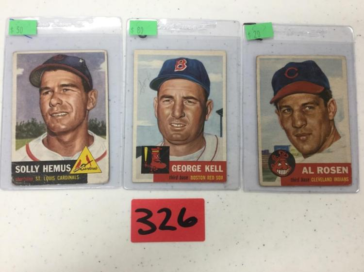 Lot of 3 1953 Topps Baseball Cards - Hemus, Kell, and Rosen