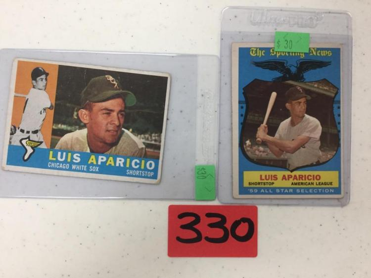 Lot of 2 Topps Luis Aparicio 1960 #240 and 1959 #560