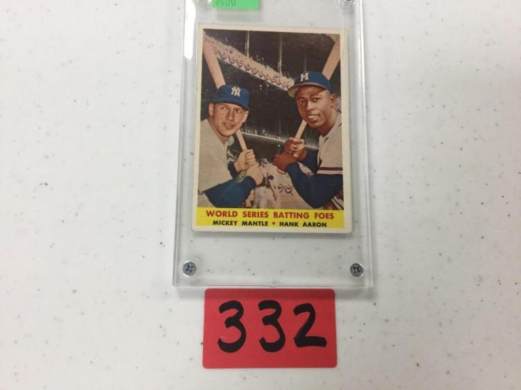 1958 Topps World Series Batting Foes Mantle Aaron 418