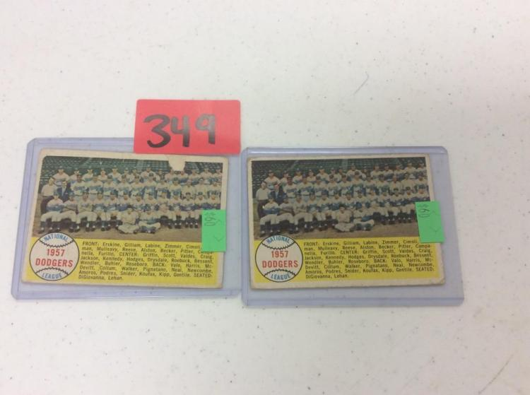 (2) 1958 Topps 71 1957 Dodgers Team Check list - All For One Money