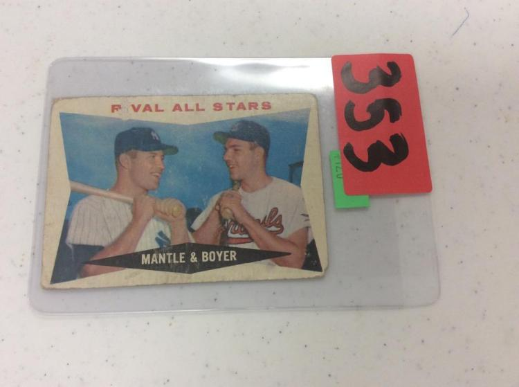 1960 Topps 160 - Rival All Stars Mantle & Boyer