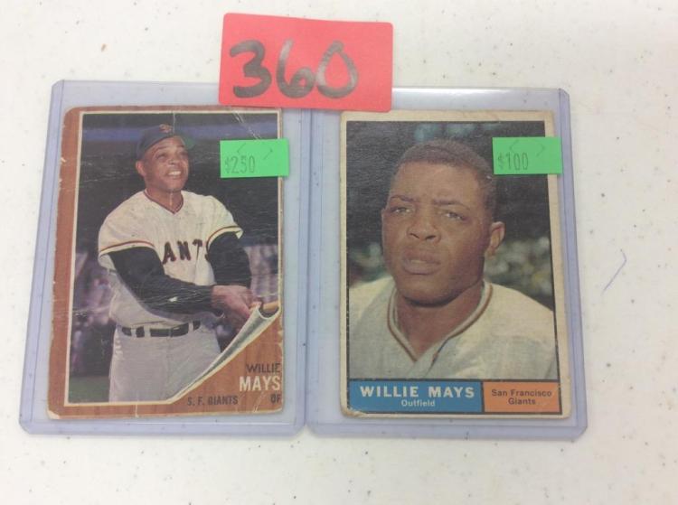 1961 Topps 150 & 1962 Topps 300 - Willie Mays