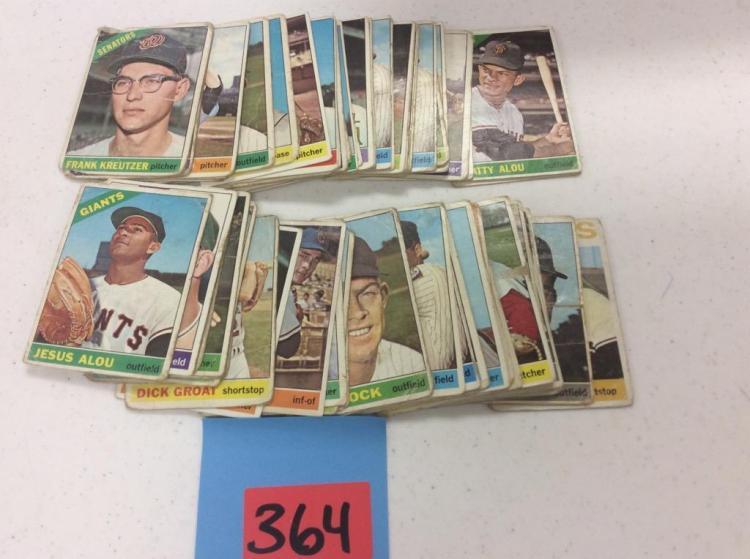 (74) 1966 Topps Baseball Cards - Incomplete Set