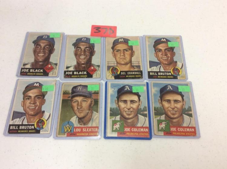 (8) 1953 Topps Baseball Cards - All For One Money