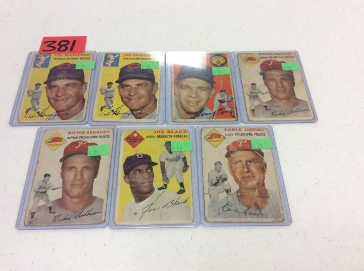 (7) 1954 Topps Baseball Cards - All For One Money