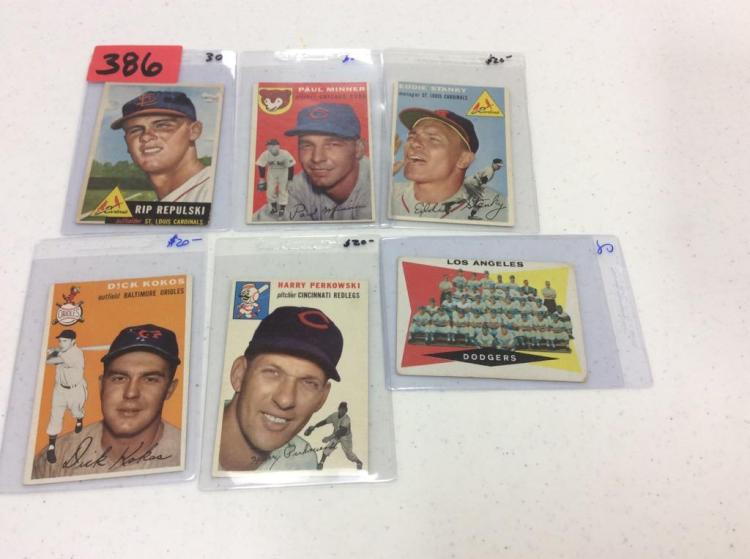 (6) Topps 1953, 1954, & 1960 Cards - All For One Money