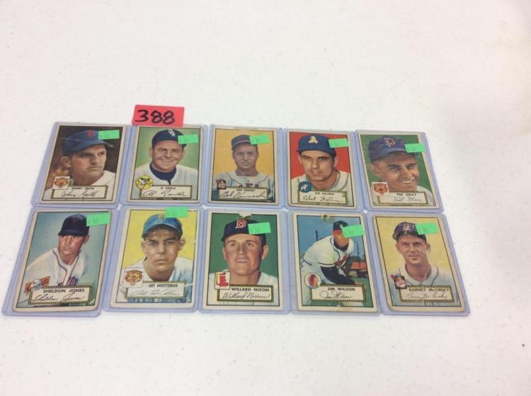 (10) Topps Baseball Cards - 1952