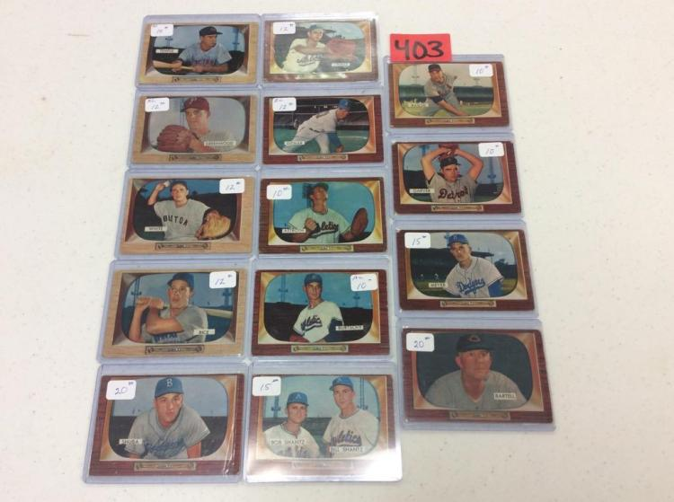 (14) 1955 Bowman Baseball Cards - All For One Money