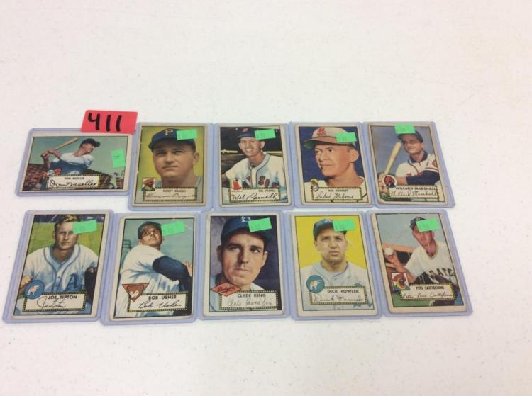 (10) 1952 Topps Baseball Cards - All For One Money