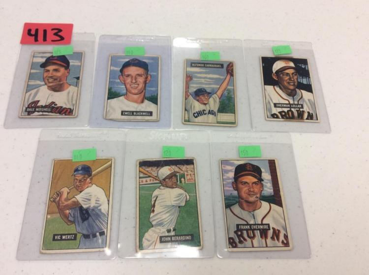 (7) 1951 Bowman Baseball Picture Cards - All For One Money