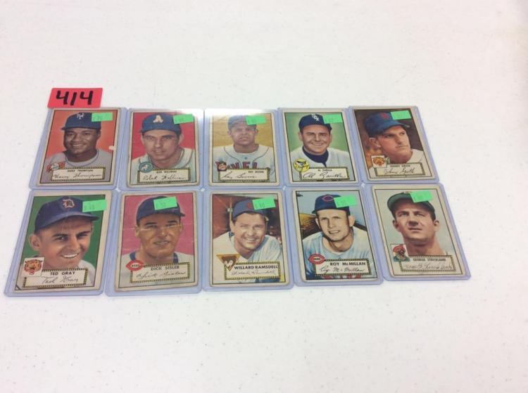 (10) 1952 Topps Baseball Cards - All For One Money