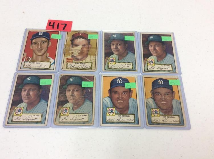 (8) 1952 Topps Baseball Cards - All For One Money