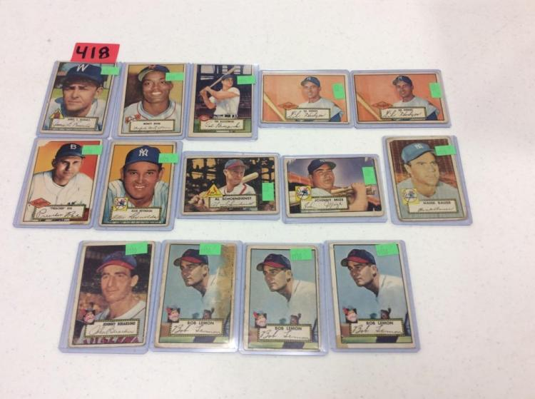 (14) 1952 Topps Baseball Cards - All For One Money