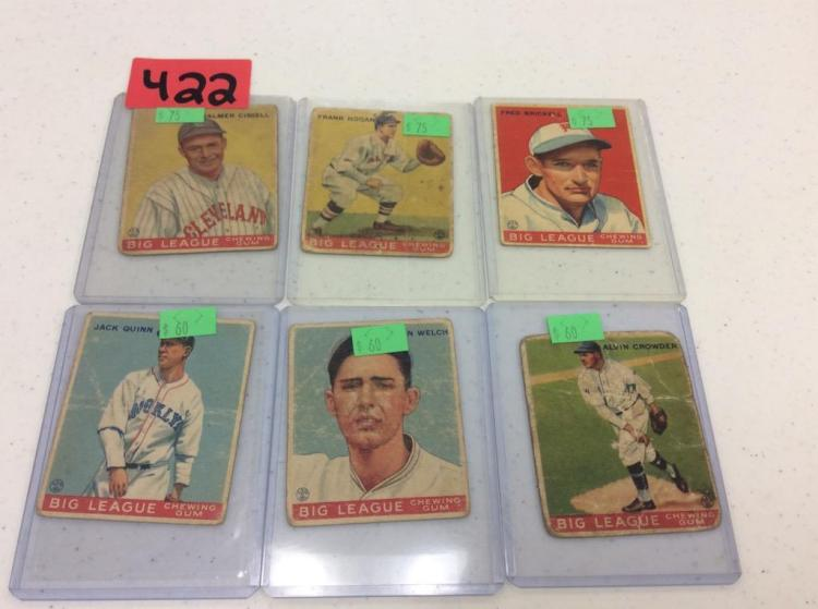 (6) 1933 Goudy Gum Baseball Cards - All For One Money