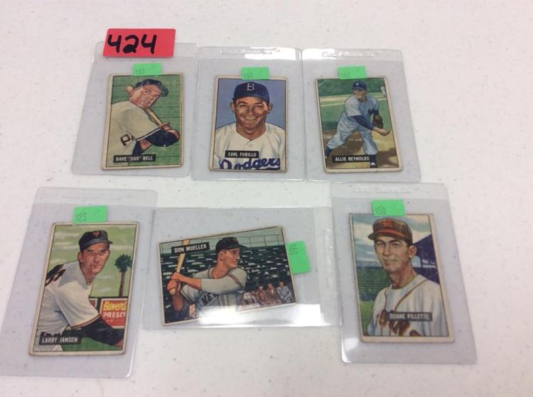 (6) 1951 Bowman Baseball Picture Cards - All For One Money