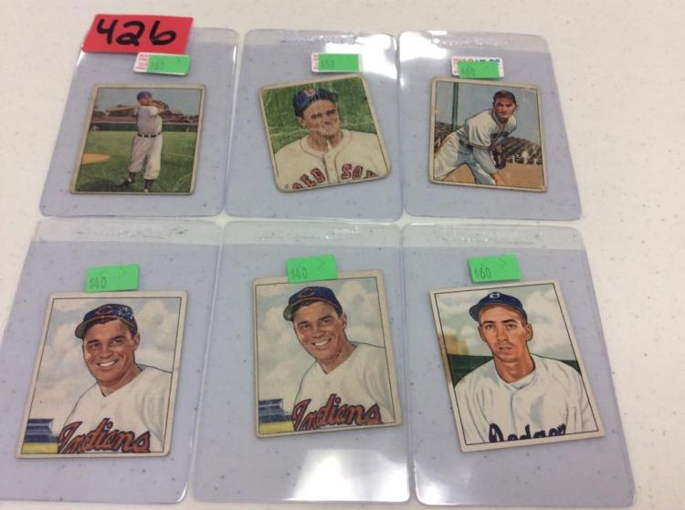 (6) 1950 Bowman Baseball Cards - All For One Money