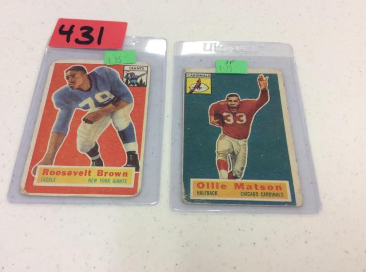 1956 Topps Football 41 Roosevelt Brown & Topps 58 Ollie Matson