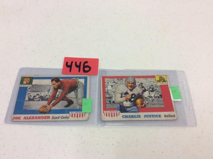 1955 Topps 41 Joseph Alexander & 63 Charles Justice