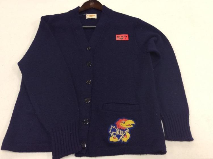 Long Sleeve Button Up with KU Patch - 100% Virgin Orlon Acrylic