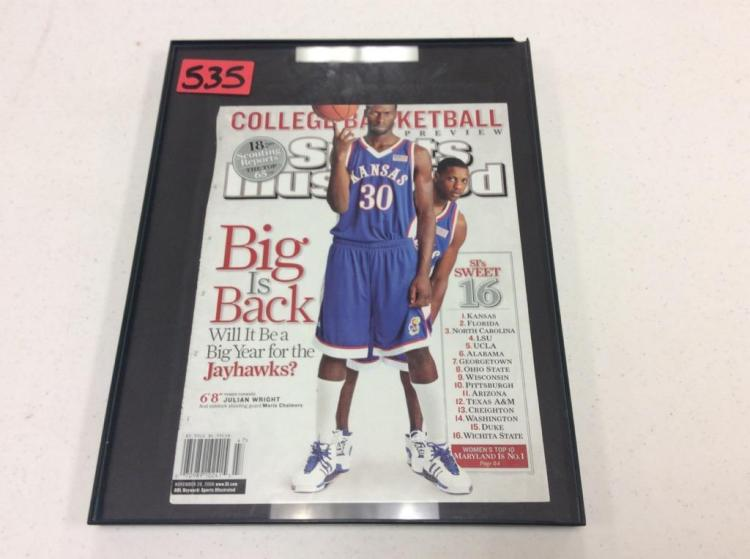 Framed Sports Illustrated Cover Featuring Jayhawks - Julian Wright & Mario Chalmers 2006