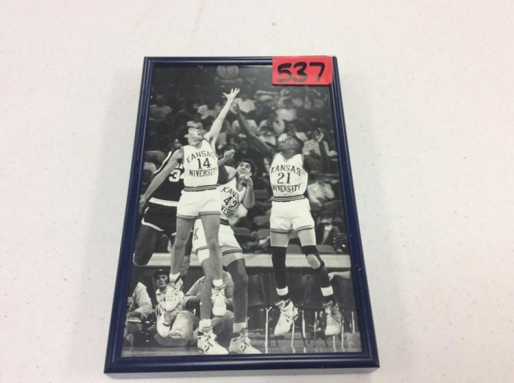 Framed KU Black & White Picture Featuring #21, 14, & 42