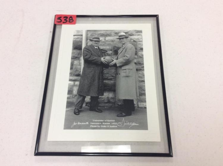 Framed Picture of James Naismith & Forrest Claire (Phog) Allen - Lawrence, Kansas 1932- Photo by Duke D'Ambra