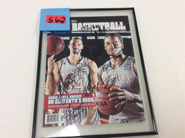 Autographed KUsports.com Men's Basketball 2014-2015 Magazine Cover - Framed