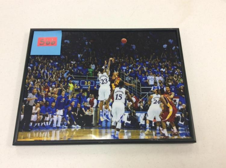 12X16 Framed Picture of KU Basketball Player #23 McLemore Taking a Shot