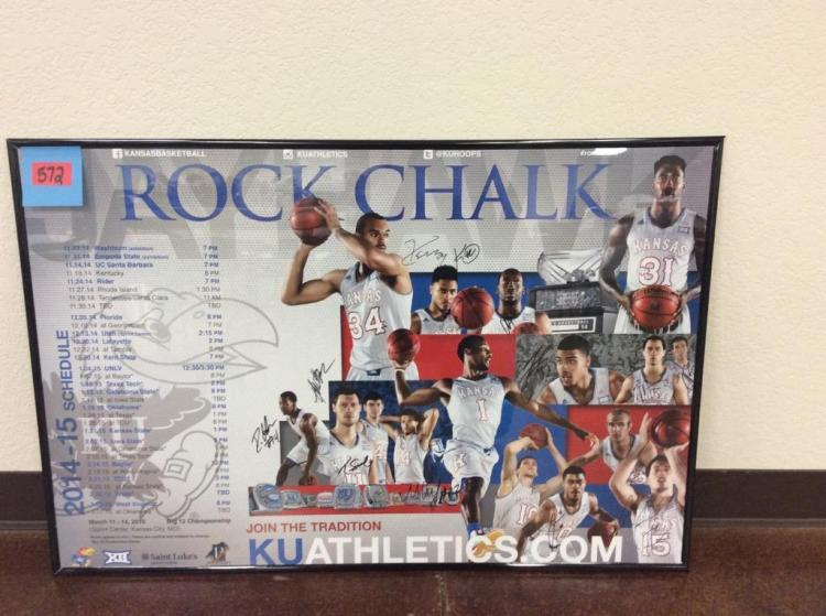 36 1/4 X 24 1/4 Framed and Signed 2014-2015 KU Basketball Schedule