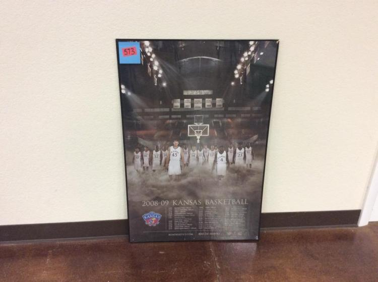 36 1/4 X 24 1/4 Framed 2008-2009 KU Basketball Schedule
