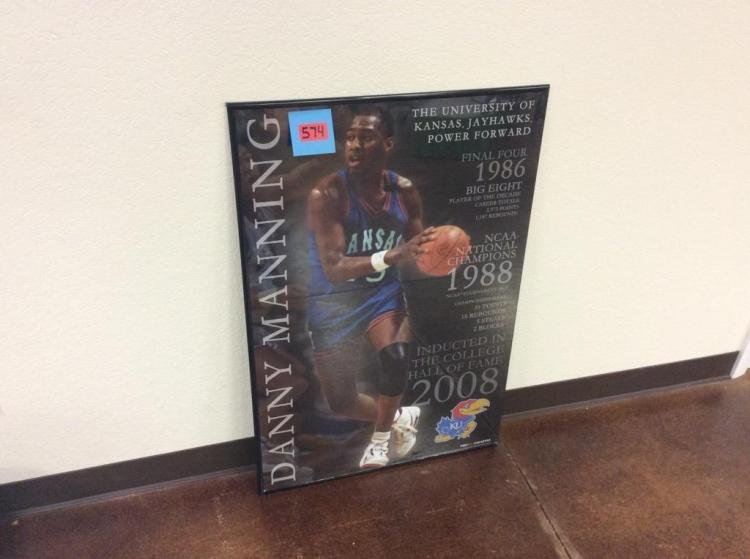 36 1/4 X 24 1/4in Framed Picture of KU Basketball Player Danny Manning