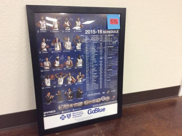 26 1/8in X 20 1/8in Framed KU Basketball 2015-2016 Schedule