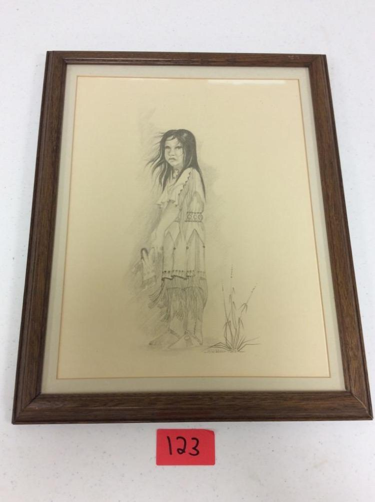 Native American Girl Pencil Drawing by Blackbear Bosin