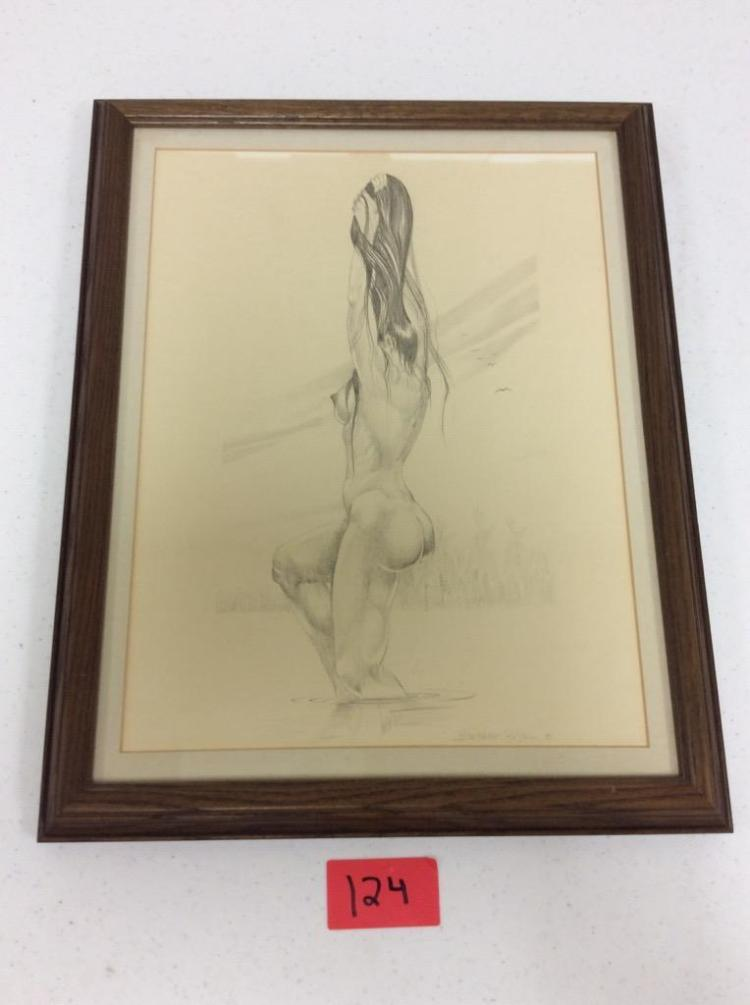 Nude Native American Woman Pencil Drawing by Blackbear Bosin