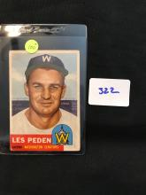 1953 Topps 256 Les Peden High Number