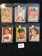 1952 topps lot of 6 cards 4,8,9,10,12,18