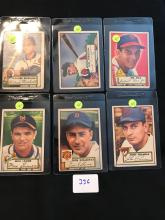 1952 Topps lot of 6 cards 96,97,100,101,104,105