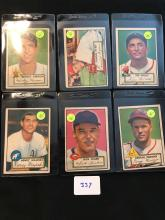 1952 Topps lot of 6 cards 106,107,109,112,113,115