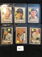 1952 Topps lot of 6 cards 196,207,218,224,225,229