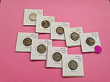 (9) Jefferson Silver War Nickels!