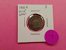 1868 Shield Nickel F!