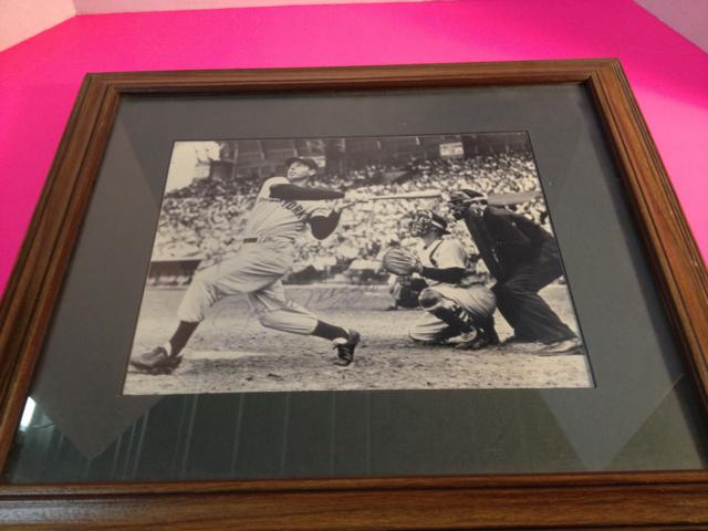 Joe DeMaggio Autographed B&W Print, matted, framed, w/PSA/DNA COA