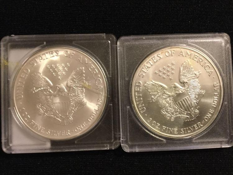 Lot Of 2 Silver Eagle Dollars 1999 2001 1oz Fine Silver